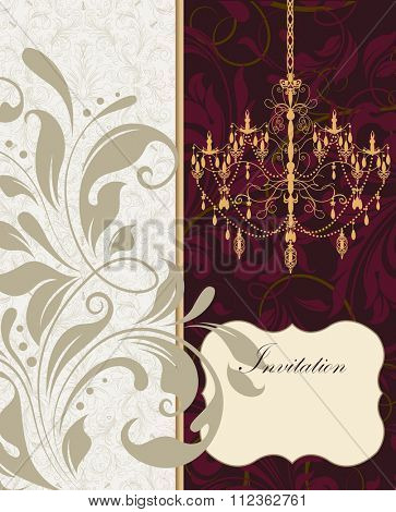Vintage invitation card with ornate elegant retro abstract floral design, gray and purple flowers and leaves on light gray and dark purple background with chandelier. Vector illustration.