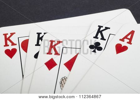 Poker Card Game With Kings And Aces Full. Black Background