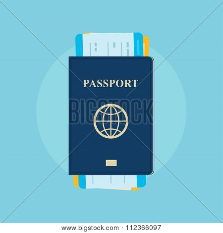 Passport with boarding passes