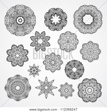 Set Of Gothic Circle Ornament Roses And Stars In Vector, Isolated Black On White