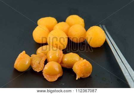 Gold Egg Yolks Drops And Pinched Gold Egg Yolks, Ancient Thai Dessert