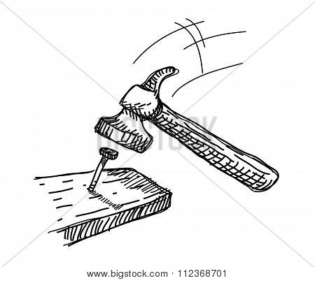 Hammer and Nail Doodle