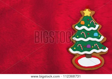 Red Plush Fur And Holiday Tree Christmas Background