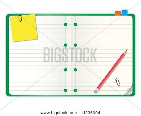 Green Cover Blank Notebook With Grid Line
