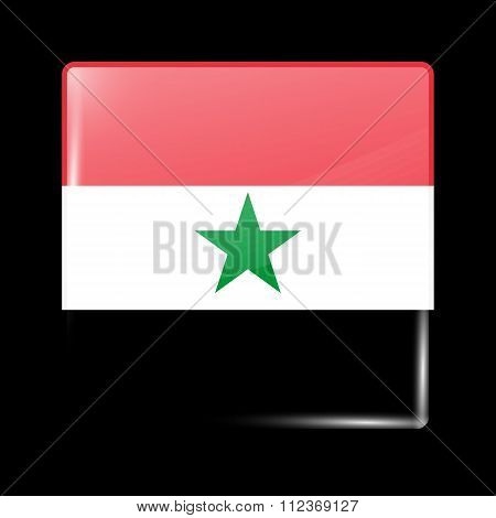 Flag Of North Yemen. Glassy Icon Square Shape