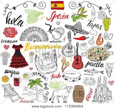 Spain Doodles Elements. Hand Drawn Set With Spanish Food Paella, Shrimps, Olives, Grape, Fan, Wine B