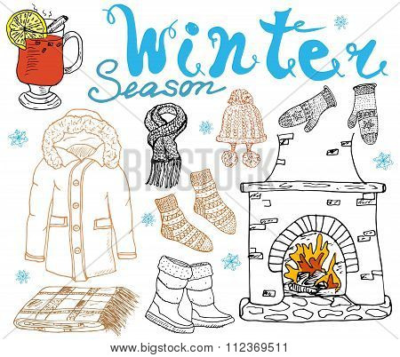 Winter Season Set Doodles Elements. Hand Drawn Set With Glass Of Hot Wine, Boots, Clothes, Fireplace