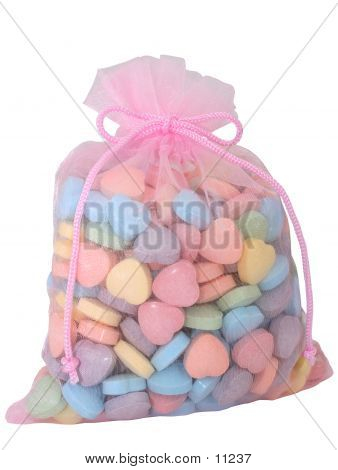 Bag Of Heart Candies (8.2mp Image)