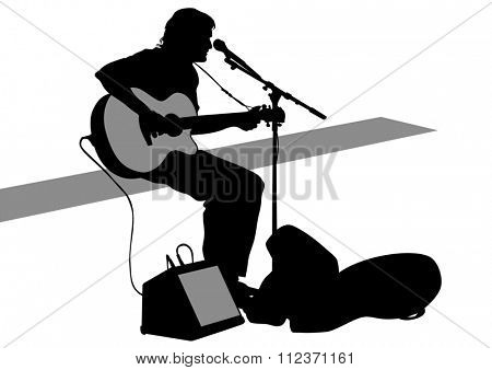 Concert of guitarist man on a white background