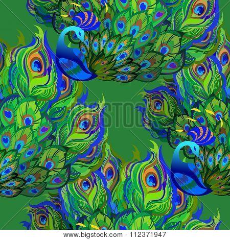 Peacock birds. Beautiful green seamless pattern background. Vector illustration.