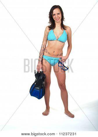 Girl In Bikini with Snorkel