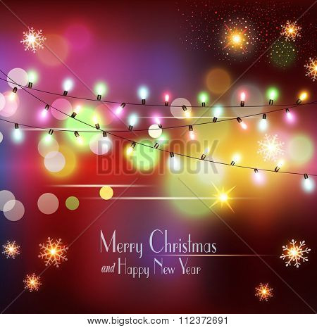 vector Christmas holiday  background with snowflakes, snow and glowing garland