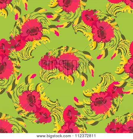 Pattern of poppy flowers on green background. Vector illustration.