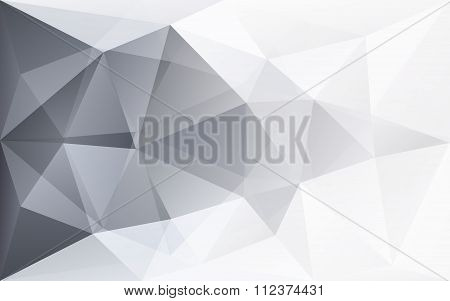 Abstract White Geometric Polygonal Background With Grey Triangle Texture, In Vector
