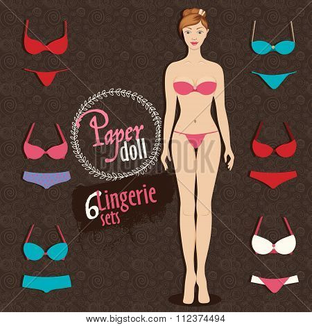 Beautiful Dress Up Paper Doll And Lingerie Sets