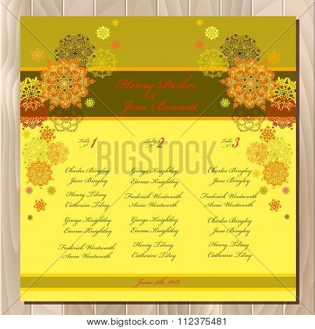Table guest list. Vector background with winter snowflakes. Wedding template.