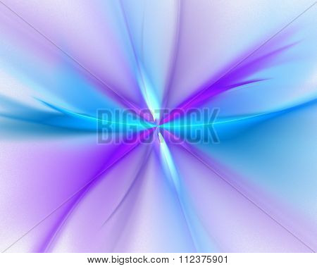 Abstract White Background With Purple, Turquoise And Blue Color Flower Or Rays In The Center Texture