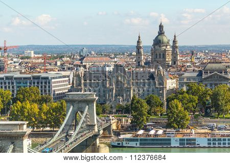 BUDAPEST, HUNGARY - CIRCA SEP, 2015: View of the embankment of the Danube. Panorama of the Danube - UNESCO world heritage site. Budapest population of 1,745 million - is in the EU in eighth place.