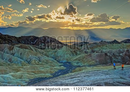 Children At Zabriskie Point Sunset-hdr