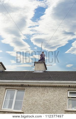 Chimney Sweep Busy Cleaning Home Chimney