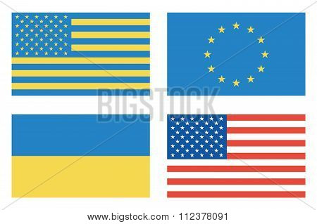 Flags Of Countries. Usa, Ukraine, European Union. Vector Illustration.