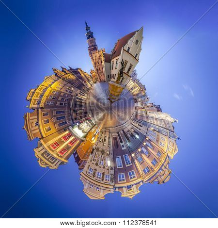 Night Skyline of Poznan Old Market Square in western Poland. Tiny planet montage from 17 HDR images