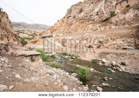 Wild River In Mountain Valley Of Middle East