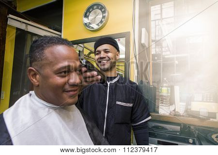 Barber Giving his Client a Haircut, In Barber Shop