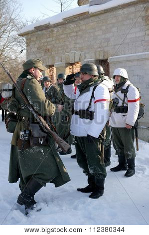Gatchina, Russia, February 18, 2012: Reconstruction Of The Battle Of The Second World War