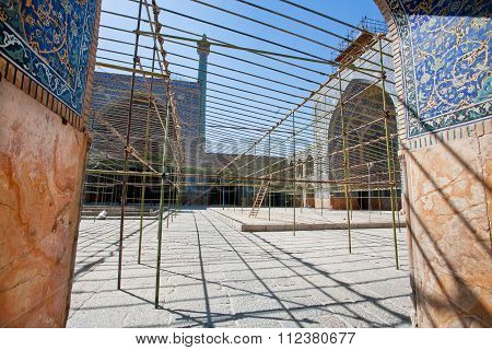 Time Of Repair Works In Historical Courtyard Of Imam Mosque, Isfahan In Iran. Unesco World Heritage