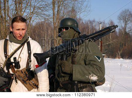 Gatchina, Russia, February 18, 2012: Reconstruction of battle during World War II