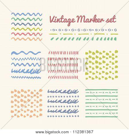 Vintage Marker strokes set