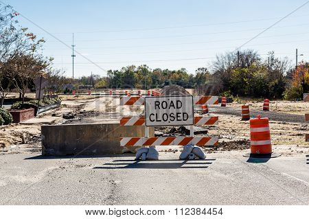 Barriers At New Road Construction