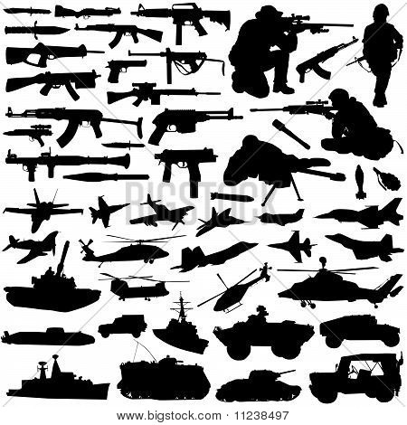 collection of military objects