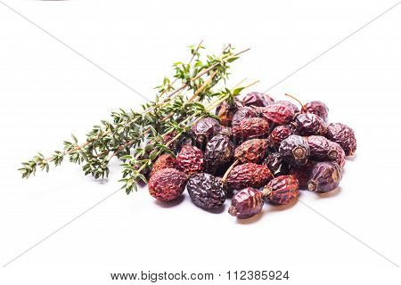 Dried dog-rose berries isolated