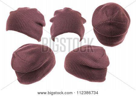 Set Caps Burgundy Isolated On White Background