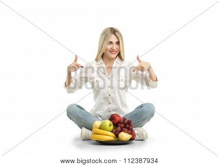 Happy Young Woman And Healthy Vegetarian Food, Fruit. Concept Of Diet. Low-calorie Fruit Diet. Diet