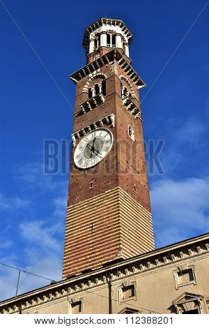 Torre Dei Lamberti, The Tallest Tower In The Center Of Verona