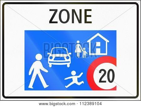 Road Sign Used In Switzerland - Home Zone Entry