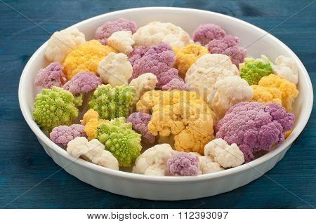 Cauliflower Colored Yellow , Green And Purple