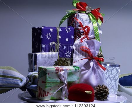 Gift boxes and presents cases in wrapping paper