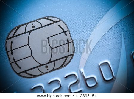 Close Up On The Microchip Of A Credit Card