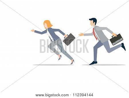 Business Man And Business Woman In Rush Competing Run.