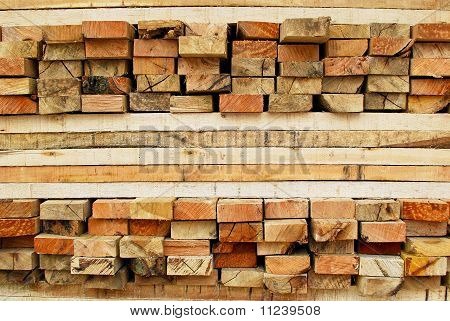 Stack Of Lumber In Logs Storage