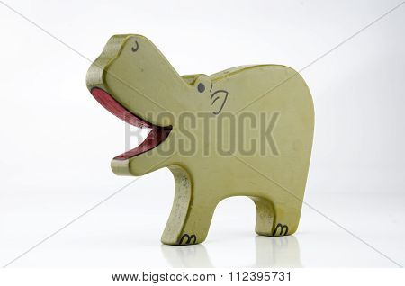 Wooden Hippo Three Quarter On White