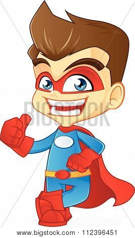 Superhero leaning and give thumbup