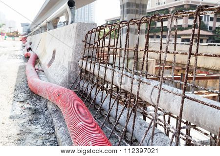 Pvc, Corrugated Plastic Pipes, Rebar Concrete Divider In Road Construction