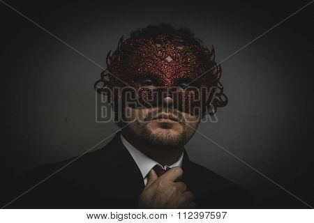executive, Business man mysterious Venetian mask with frills