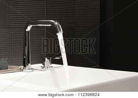 Water On Faucet