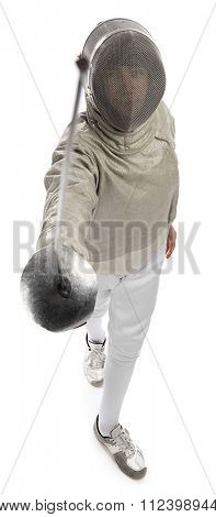 Foil fencer from above isolated on white background.